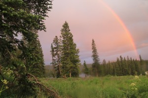 Rainbow over the West Elks and Lake Irwin