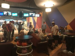 Bowling proved to be a great choice to escape the torrential downpour back at camp.